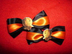 Trick 'R Treat Sam hair clips now listed in my Etsy shop.