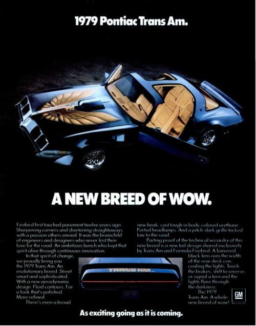 Pontiac Trans Am 1979 Vintage Cars Advertising