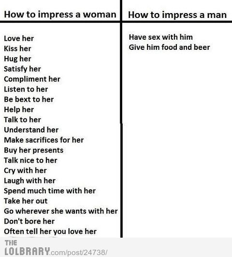 youknowyoulold:  How to Impress a Woman Vs a ManFollow this blog for the best new funny pictures every day  (via imgTumble)