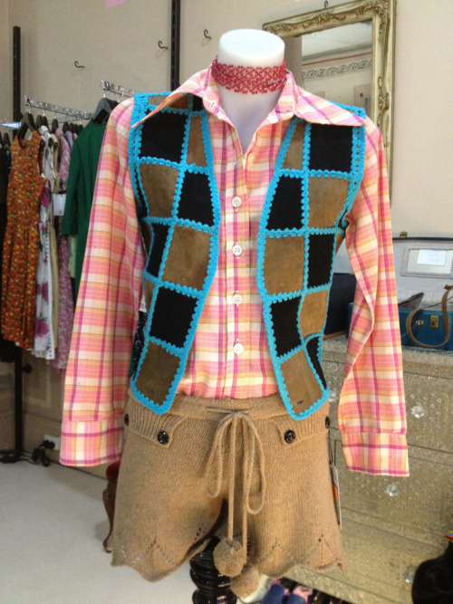 70's patchwork leather vest