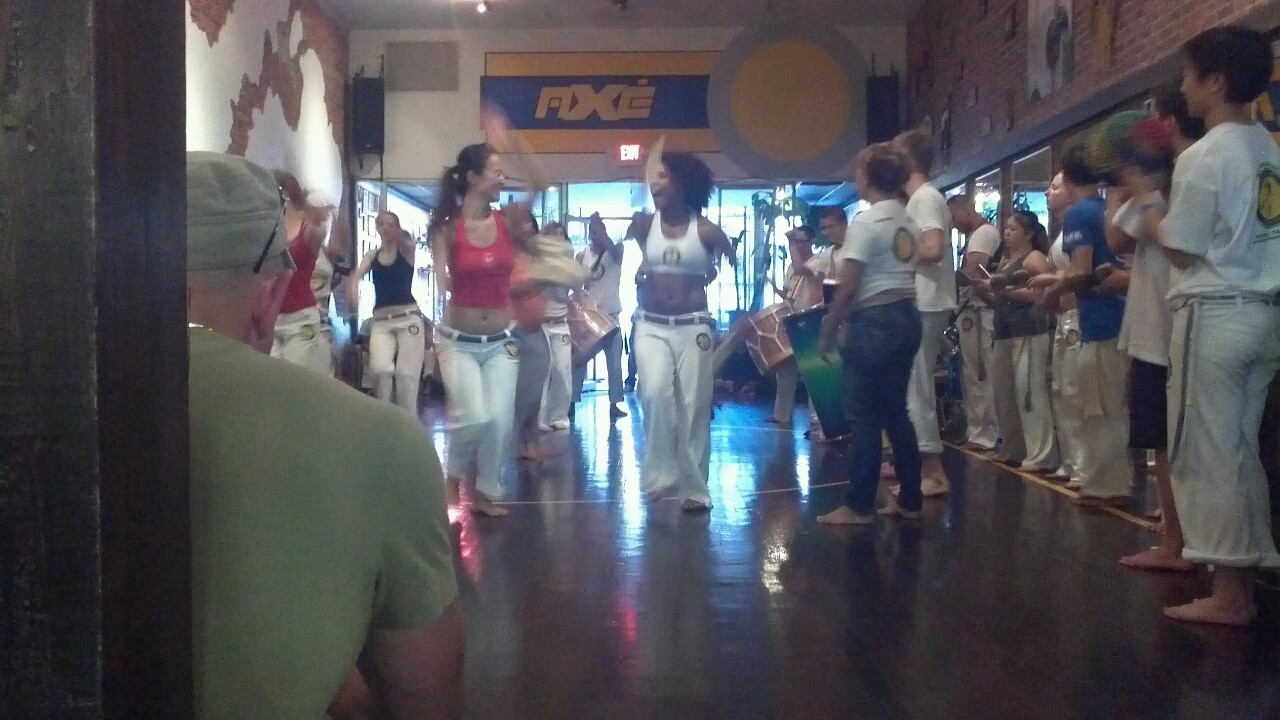 Dance rehearsal at Axé Capoeira. Not only is the dance awesome, the music is phenomenal.
