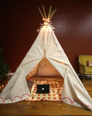 DIY Drop Cloth Teepee from Smile and Wave here. *First seen at Her New Leaf here.