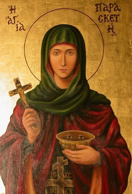 "Today the Orthodox Church piously remembers beloved St. Paraskevi, the patron saint for health of the eyes! (July 26/August 8) Parasceva was born in Rome of Christian parents and from her youth was instructed in the Faith of Christ. With great fervence, St. Parasceva endeavored to fulfill all the commandments of God in her life. Believing strongly and living according to her faith, Parasceva directed others on the path [of salvation] with the help of the True Faith and pious living. When her parents died Parasceva distributed all of her property to the poor and was tonsured a nun. As a nun she preached the Faith of Christ with an even greater zeal, not hiding from anyone, even though at that time the Roman authorities bloodily persecuted the Faith of Christ. First the pernicious Jews accused St. Parasceva of preaching the prohibited Faith. She was brought to trial before Emperor Antoninus. All the flatteries of the emperor did not help in the least to cause her to waver in the Faith. They then subjected her to fiery torments and placed a red-hot helmet on her head. The Lord miraculously saved her and Parasceva was delivered and left Rome. She again traveled from city to city to convert the pagan people there to the True Faith. In two more cities she was brought before princes and judges and was tortured for her Lord, at the same time working great miracles and by the power of God quickly recuperated from her pains and wounds. The pagans, as always, ascribed her miracles to magic and her power of recovery to the mercy of their gods. St. Parasceva once said to the prince who tortured her: ""It is not your gods, O prince, who healed me but my Christ the True God."" Finally Prince Tarasius beheaded her. Thus this saint gloriously ended her fruitful life. Her relics were later translated to Constantinople. She suffered honorably for Christ in the second century."