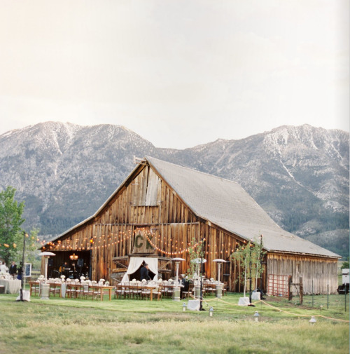 wedding party in a barn