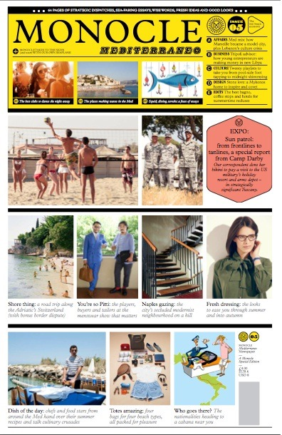 The third edition of Monocle's summer newspaper, Monocle Mediterraneo, hit newsstands around the world today - and is as super-stylish as we've come to expect from the trendsetting brand. One to pick up at the airport!