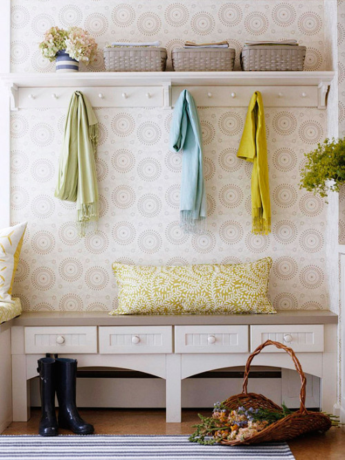 neutrals and pastels for the mudroom