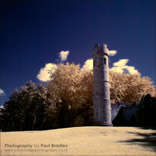 Gothic Tower Folly (IR) on Flickr.Filtered digital infrared.
