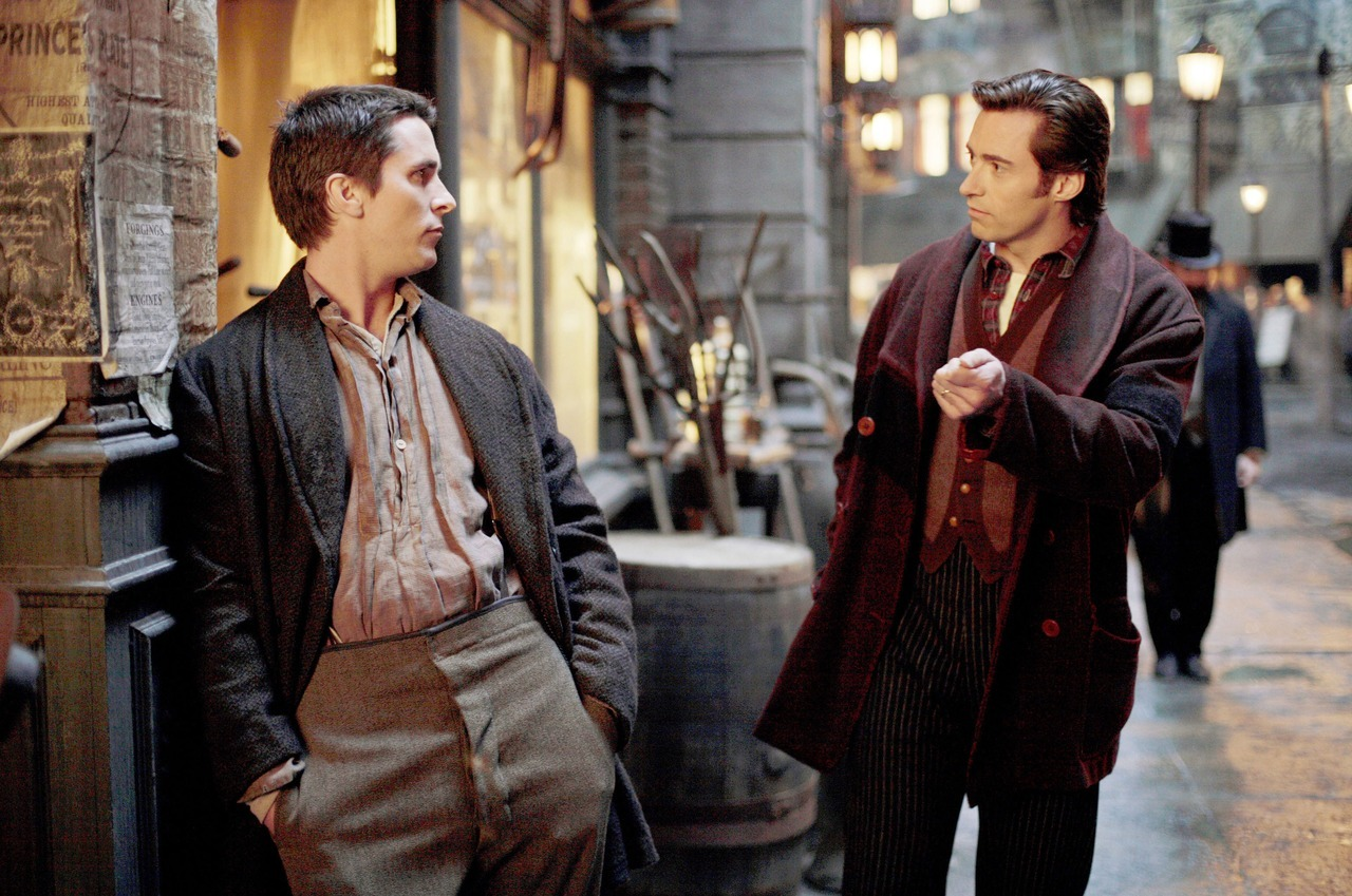 "Christian Bale & Hugh Jackman in The Prestige Fun Bo Fact: This is one of my favourite KISS HIM! images. I remember the first time I saw it, I said, ""Is this a movie about Bale being a sassy prostitute that Hugh picks up?"" I wish!"