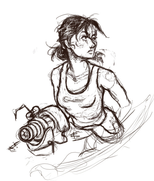 29th was Portal fanart - Quick 10 min sketch, I tried to colour it but it was horrible, but I kept going anyways and it turned into a full painting, but it's taking way to long to finish and is holding up the rest of our daily drawings so FOR NOW, you just get the sketch, painting will come sometime later :I
