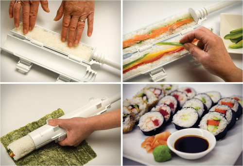 inspirezme:  The 'sushi bazooka', offered by japanese distributor strapya, is a plastic device that makes perfectly rolled sushi.The three piece unit works by simply filling each half of the tube with rice and other ingredients, where they are compressed using a cylindrical plunger.     Must… Have… This…