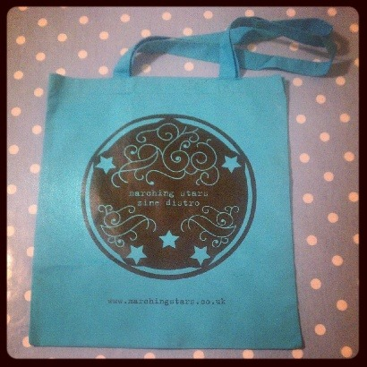Just 5 days left to get a free tote bag with all orders over £12!  www.marchingstars.co.uk marching stars is a UK-based zine distro selling lots of lovely zines: perzines, feminist, queer, body image, mental/physical health, racial identity, travel, riot grrrl, craft, fiction, veggie/vegan and other such indescribable zine genres.