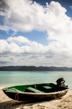 Boat on the beach. Jost Van Dyke, British Virgin Islands.