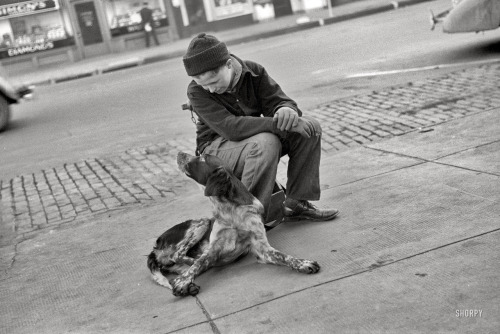 "via SHORPY: Best Friends: November 1938. ""Boy with dog. Omaha, Nebraska."" 35mm nitrate negative by John Vachon for the Farm Security Administration."