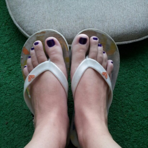 Finished product of my pedicure last night #pedicure #purple #flipflops  (Taken with Instagram)