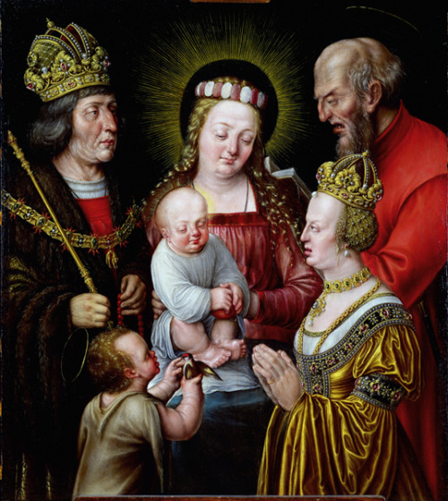 uglyrenaissancebabies:  Emperor Maximilan I and His Second Wife Anna Pray to the Holy Family  LUMPIEST PAINTING EVER.   (submitted by Richard Arnopp)