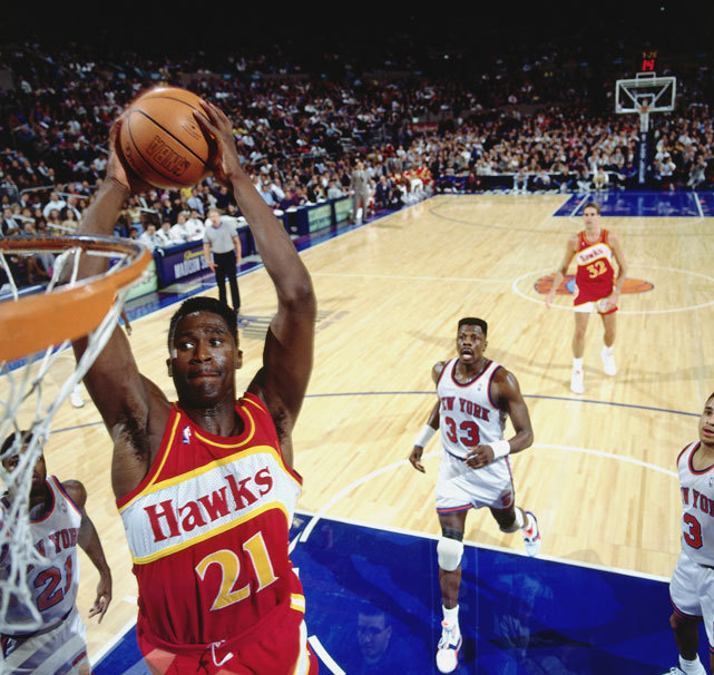 Dominique Wilkins goes for a dunk during a 1991 Hawks-Knicks game at Madison Square Garden. (Nathaniel S. Butler/NBAE/Getty Images) GALLERY: NBA Dunk Contest Winners (1984-2012)SI VAULT: Wilkins soaring again for Hawks (12.7.92)