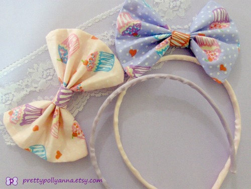 New bow headband in my Etsy shop!−☆ www.etsy.com/listing/105320791/sweet-lolita-fairy-kei-kawaii-pastel Only available in pink and purple currently, but more colour varieties should be coming soon ~ the bows are removable and can easily be turned into hair bows with a couple of bobby pins (≧∇≦*) **Don't forget: the code HAPPYBIRTHDAY is still active for 20% off!