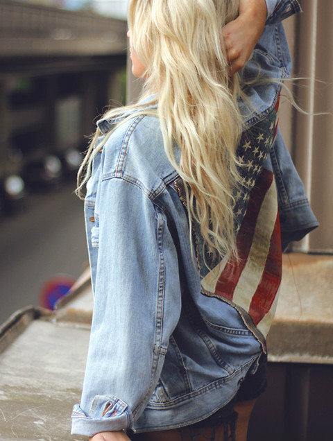 blonde denim jacket oversized jacket american flag hipster shorts tan