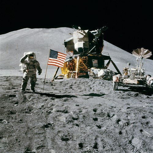 "Apollo 15 Launch Anniversary Apollo 15 was the ninth manned mission in the United States Apollo space program, the fourth to land on the Moon and the eighth successful manned mission. It was the first of what were termed ""J missions"", long duration stays on the Moon with a greater focus on science than had been possible on previous missions. It was also the first mission where the Lunar Roving Vehicle was used. The mission began on July 26, 1971, and concluded on August 7. At the time, NASA called it the most successful manned flight ever achieved. Commander David Scott and Lunar Module Pilot James Irwin spent three days on the Moon and a total of 18½ hours outside the spacecraft on lunar extra-vehicular activity. The mission was the first not to land in a lunar mare, instead landing near Hadley rille in an area of the Mare Imbrium called Palus Putredinus (Marsh of Decay). The crew explored the area using the first Lunar Rover, allowing them to travel much farther from the Lunar Module lander than had previously been possible. They collected a total of 77 kg (170 lbs) of lunar surface material. At the same time, Command Module Pilot Alfred Worden orbited the Moon, using a Scientific Instrument Module (SIM) in the Service Module to study the lunar surface and environment in great detail with a panoramic camera, gamma ray spectrometer, mapping camera, laser altimeter, mass spectrometer, and lunar sub-satellite deployed at the end of Apollo 15's stay in lunar orbit (an Apollo program first)."