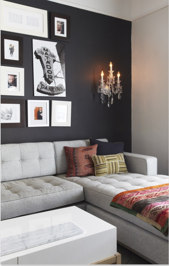Black accent wall. Via The Marion House Book