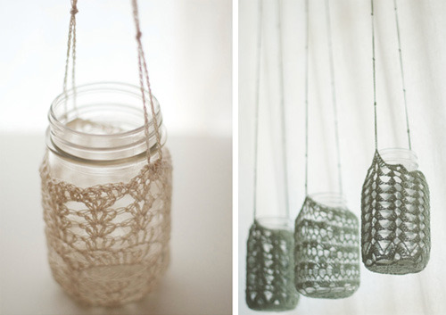 Crochet Mason jar holder via Sweet Peach