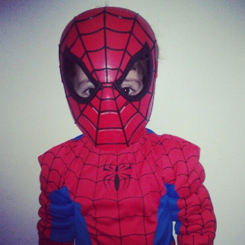 "Vincent says, ""The monsters won't know who I am!"" #TooCute #Spiderman #DominiqueMoceanu (Taken with Instagram)"