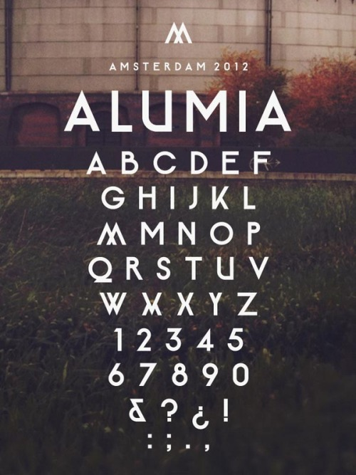 weandthecolor:  Alumia A typeface designed by Maarten van 't Wout, a graphic designer from the Netherlands. The typeface was originally designed for the design company, Alumia. This clean, simple but strong typeface is perfect for using in headlines and in logos. The font is available for download here. via: WE AND THE COLORFacebook // Twitter // Google+ // Pinterest