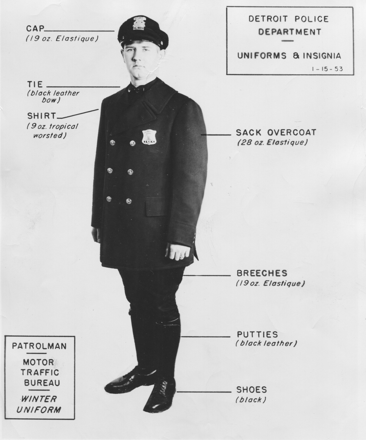Detroit Police Uniforms March 12 1954, The Detroit News