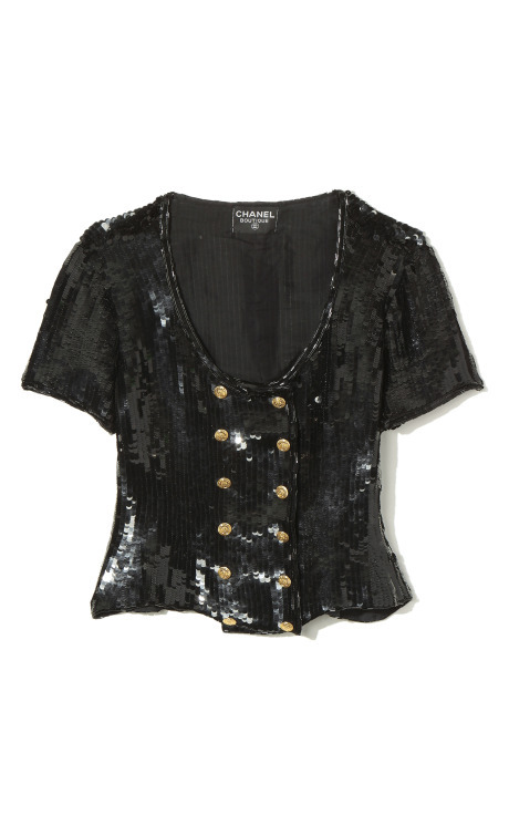 VINTAGE CHANEL /// J'ADORE le Black Sequined crop top @MODAOPERANDI! xo ;*