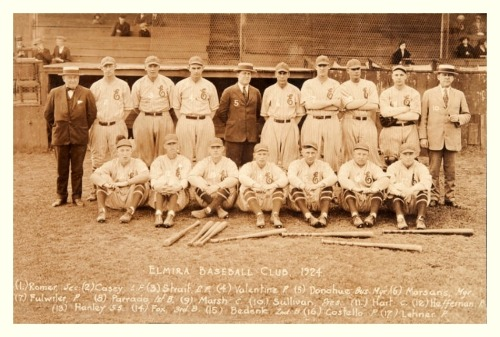 1924 Elmira Colonels TeamThe most noteworthy person in this picture is the manager, #6 Armando Marsans. He is widely considered to be the first Cuban player to make an impact in MLB. Along the way he played in the Cuban Leagues, Negro Leagues, American League (Browns/Yankees), National League (Reds)…and even the Federal League (St. Louis Terriers).