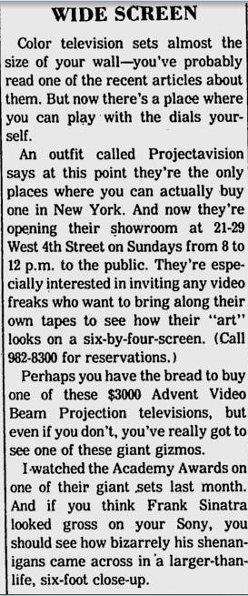 Projectavision—an early widescreen TV. $3000!  (From Village Voice, June 2, 1975)