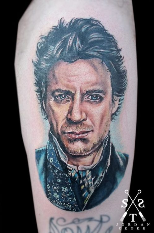 My Robert Downey Jr as Sherlock Holmes portrait.Done by Jordan Croke at Second Skin Tattoo, Derby, England