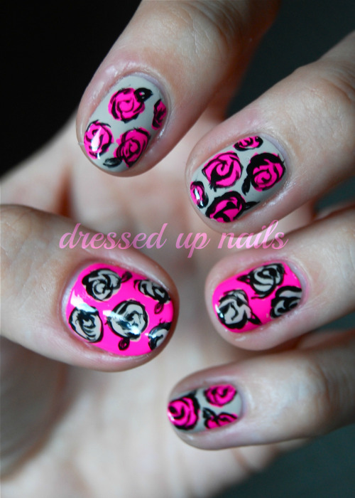 Neon and nude roses! These were super easy and fun to do and I love the combo of the nude with the neon pink. This mani is loosely based off this one I did a couple months ago. If you wanna read more and see more pix, just go hang out at my blawg!