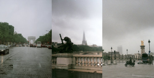 paradisparis:  rainy parisian triptych by ~unknownanduntitled  man i love paris like this! i would walk around for hours just taking it all in…