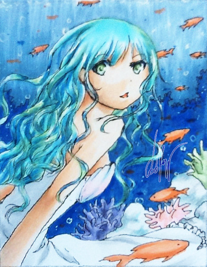 "ACEO-Card #7: Ocean Princess  the ""scanned"" version (I used an app this time…) Unfortunately you can't see the green-ish highlights in her hair orz oh well… but I kinda like it xD (my ACEO-card! :P)  Bio  Tools: left: Copic Multiliner 0.05 mm, Copic Markers  