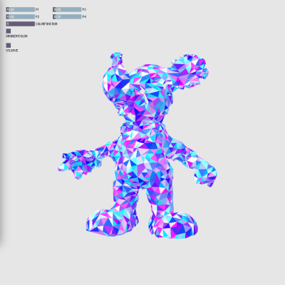 hysysk:  Cyan Dapple Mickey - new Processing interface for Coloring meshes w/ color-stl save (by plummerfernandez)