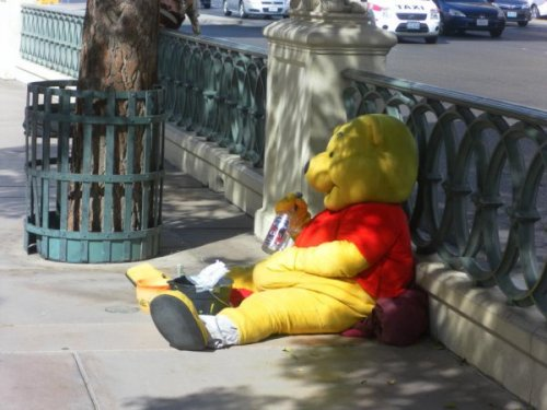 10 Pictures of Disney Characters Misbehaving Disney is a world of good sterile fun. A world where evil is punished and good prevails, where drugs don't exist, and no one ever poops. So when people in our own imperfect universe get a hold of Disney costumes, sometimes they drag these characters down into dirty, sinful mud of our own world. Here's 10 people dressed as Disney characters, doing things Disney characters would never do