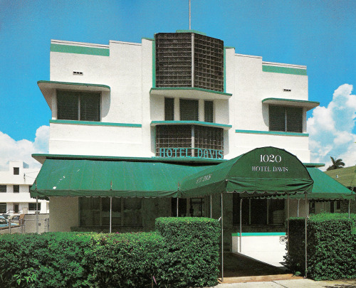 Davis Hotel, Miami Beach, FloridaFrom Tropical Deco Hotel on Washington Ave. featuring glass block. From the book:  Davis Hotel - 1020 Washington Avenue (Henry Hohauser, 1941.)  Here it is on Google Street View