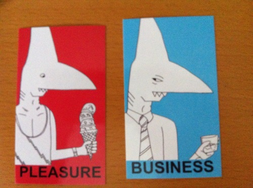 Sharkface stickers! Never mistake business for pleasure again, with these handy labels. If you would like some, e-mail rightofleftfield (at) hotmail (dot) com and we can probably work something out (as in, if you're in North America I can probably just mail you some)