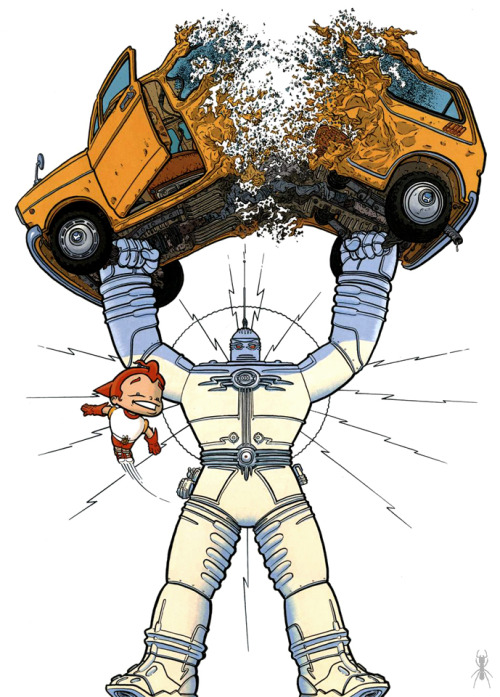 insectosmx:  The Big Guy and Rusty the Boy Robot, de Geof Darrow y Frank Miller www.facebook.com/insectosmx