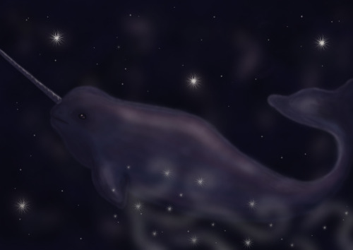 A lonely starwhale in space.