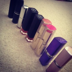 Sorting out my lipsticks. #makeup #lipstick #lips #loreal #mac #bodyshop #shades #pink #hot #fashion #chic #classy #rimmel (Taken with Instagram)