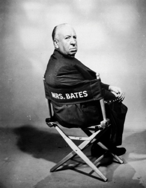 "Alfred Hitchcock Alfred Hitchcock had a vacant cast chair marked ""Mrs. Bates"" placed eerily on the set of his 1960 ""Psycho"" throughout shooting, and even falsely reported to the press that he was auditioning for the role of Mrs. Bates to further add to the mystery around the film."