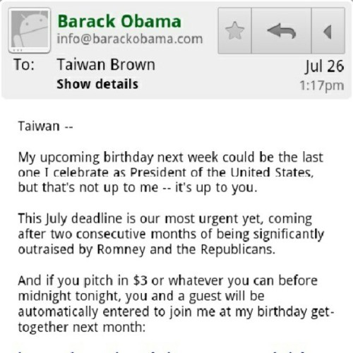 How much money should I send @barackobama for his #birthday? A dollar a year? #obama #bday #potus (Taken with Instagram)