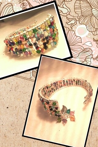 Firepolished bracelet colorful crystals cuff custom etsy forsale green handmadejewelry oneofakind rainbow red swarovski unique wirewrapped