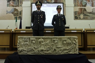 Outstanding Roman sarcophagus recovered after more than 20 years  An ancient Roman alabaster sarcophagus, which was stolen more than 20 years ago from a church south of Rome, was returned to Italy on 18 July. It came from the London-based collection of an unnamed antiquities, flown back to Rome on a cargo flight in a container reportedly displaying the official seal of the Italian Embassy in London. A special team from the cultural heritage protection division of Italy's police force, the Guardia di Finanza, gruppo Tutela Patrimonio Archeologico, lead by Massimo Rossi, conducted the repatriation operation.The sarcophagus, which dates from between the second and third centuries BC, was presented at a press conference in Rome and then returned to its hometown of Aquino, around 100km south of the capital, where it is on show in the deconsecrated church of Santa Marta.Although official sources have not confirmed this, the Italian newspaper Il Giornale has reported that the private collection in question belonged to the late US antiquities dealer Robert Hecht, who died on 9 February. Hecht had been accused in Roman court of conspiring to receive antiquities illegally excavated and exported from Italy, but his trial ended in January without a verdict when the statute of limitations ran out. Il Giornale also reported that the executor of Hecht's will first contacted Italian authorities. The work, which features in relief scenes of chariot races at Rome's Circus Maximus, was stolen in 1991 from the Madonna della Libera church in Aquino. It was one of Italy's great, unsolved antiquities thefts. No one has ever been charged with its theft.  via The Art Newspaper