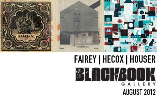 Shepard Fairey x Evan Hecox x Jim Houser Black Book Gallery (Denver) Presents FAIREY/HECOX/HOUSER A group exhibition featuring amazing works by Shepard Fairey, Evan Hecox, and Jim Houser. Fairey will exhibit printed and edition works on wood and mix media collage. Fairey and Hecox will also be painting a murals while in Denver so stay tuned for photos of the work in progress. OPENING RECEPTION: Friday, August 3rd 6pm-11pm Artists will be in attendance//Free to the public Black Book Gallery 555 Santa Fe Dr. Denver, Colorado 80204theblackbookgallery.com MURAL INSTALLATION: Shepard Fairey and Evan Hecox will be installing murals on the Metropolitan State College of Denver CVA (Center for Visual Arts). For more information please visit www.theblackbookgallery.com PANEL DISCUSSION AND BOOK SIGNING: On Friday, August 3rd there will be an invite only panel discussion with all 3 artists at the Metropolitan State College of Denver CVA (Center for Visual Arts) – More information coming soon. There will also be a signing event on the 3rd that will be open to the public – For more information please visit www.theblackbookgallery.com       via: Obeygiant.com