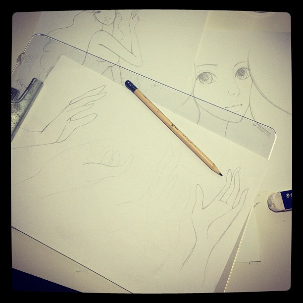 Oh hands why are you so hard to draw? (Taken with Instagram)