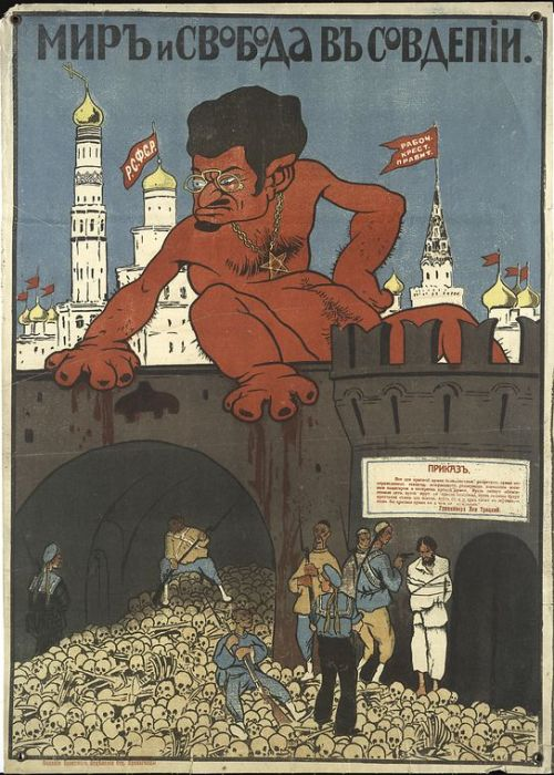 soviet-posters:   Мир и свобода в Соведпии Peace and freedom in the Soviets   Poster of Civil War period Made against Red Army by The White movement (or White Army). There is Leon Trotsky on Kremlin wall