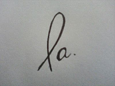 "This is my logo. I drew it in April. The ""L"" is suppose to resemble the Christian Fish, but it looks more like the Breast Cancer Ribbon instead. When I work with a graphic designer hopefully he or she can make it look better."